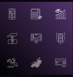 Financial icons line style set with mobile banking vector