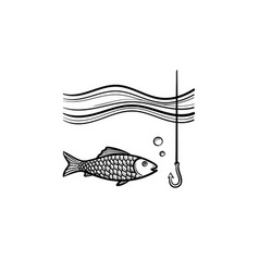 Fish with hook hand drawn sketch icon vector