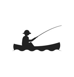 fishing kayak icon design template isolated vector image