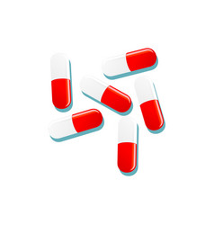 Flat cartoon red white capsules isolated vector