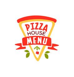 flat pizza house logo creative design element vector image