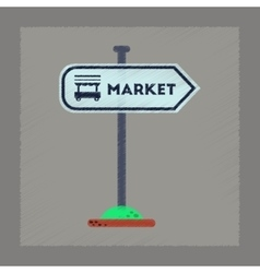 flat shading style icon sign of market vector image