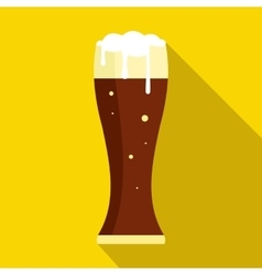 Glass of dark beer icon flat style vector