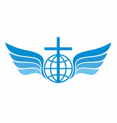 globe cross and wings vector image