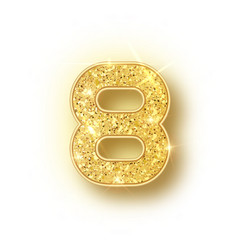 Gold glitter alphabet numbers 8 with shadow vector