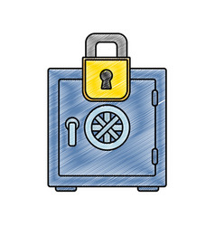 Grated strong box object and padlock security vector