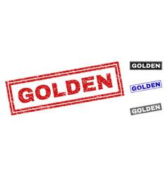 grunge golden scratched rectangle stamps vector image