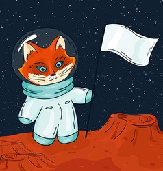 Hand drawn printable of fox astronaut with flag on vector