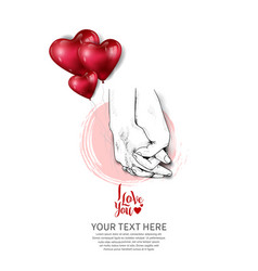 Hand holding design drawn with heart balloon vector