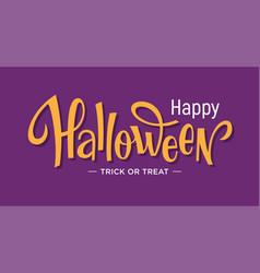 Happy halloween lettering on purple background vector