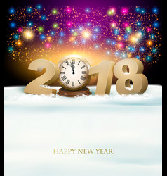 happy new year background with 2018 a clock and vector image