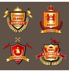 Heraldic Premium Realistic Emblems Set vector image