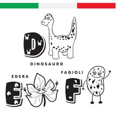 italian alphabet dinosaur ivy beans vector image