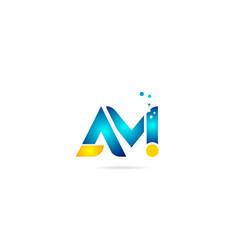 Letter combination am a m orange blue alphabet vector