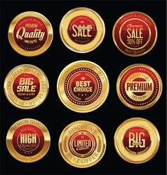Luxury golden retro badges collection 04 vector
