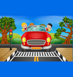 Man and family driving a car on the road vector