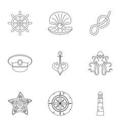 Marine icons set outline style vector