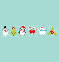 merry christmas icon set snowman candy cane stick vector image