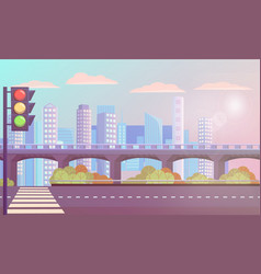 modern cityscape with empty street zebra crossing vector image