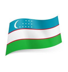 national flag of uzbekistan blue white and green vector image