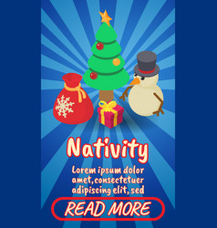 nativity concept banner comics isometric style vector image
