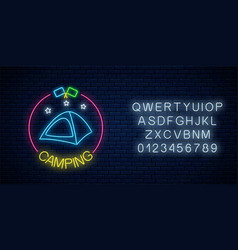 neon camping sign with tent stars and flagsin vector image