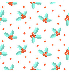 New year holly berry seamless pattern vector