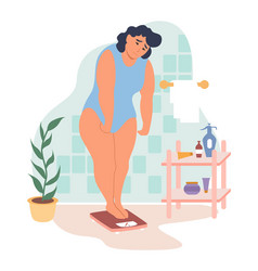 obesity and weight problems sad overweight woman vector image