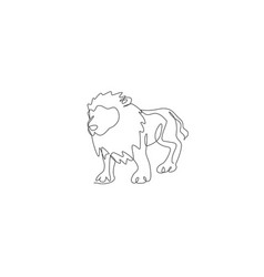 One continuous line drawing big male lion wild vector