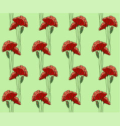 pattern hand drawn poppies stained glass style vector image