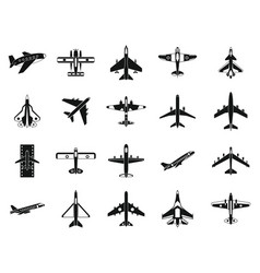 plane icon set simple style vector image