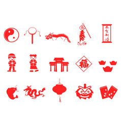 Red chinese new year icons set vector