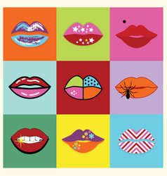 Retro assorted and colorful pop art women lips vector
