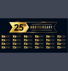 Ribbon style anniversary golden labels set vector