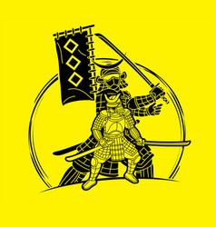 Samurai warrior with weapon ronin action vector