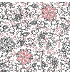 seamless black and red floral pattern vector image