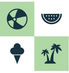 Season icons set collection of trees melon vector