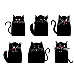 Set black cat funny kawaii animal pets vector