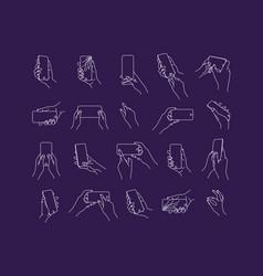 set hand phone positions dark blue vector image