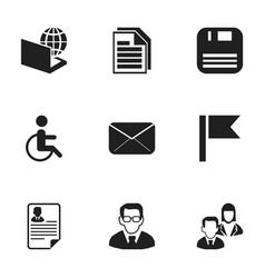 Set of 9 editable bureau icons includes symbols vector