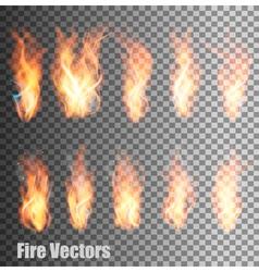 set transparent flame vector image