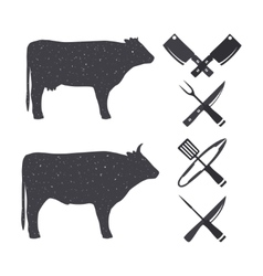 Silhouettes of farm animals vector