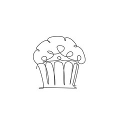 single continuous line drawing stylized baked vector image