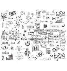 social network doodles - hand drawn set media vector image