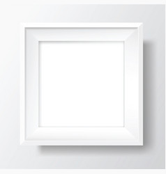 Square blank white frame on white wall vector