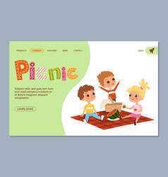 Summer picnic landing page kids characters vector