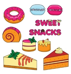 Sweet baked snacks Isolated cakes and pastry vector image