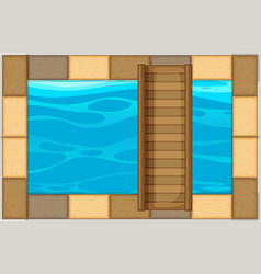 Swimming pool with wooden bridge vector