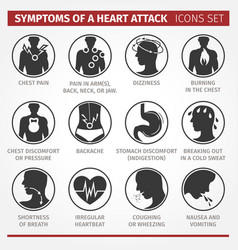 Symptoms of a heart attack set of icons vector