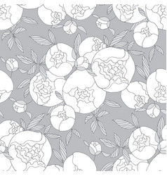 tender line peony flower seamless pattern vector image